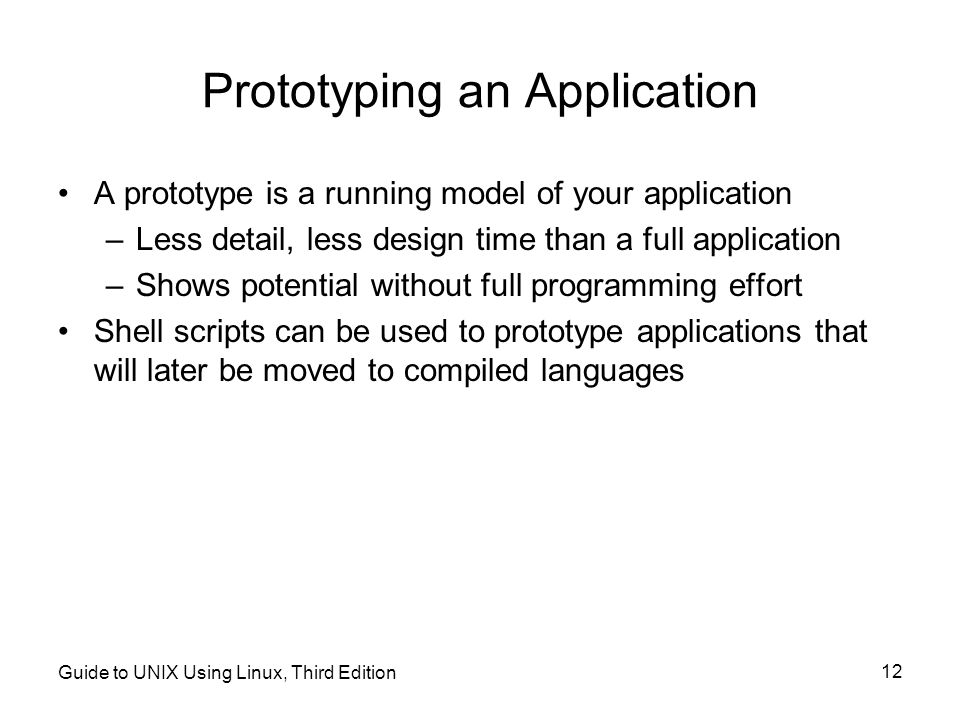 Prototyping an Application