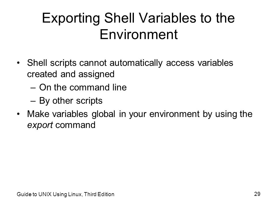 Exporting Shell Variables to the Environment