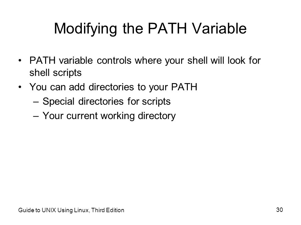 Modifying the PATH Variable