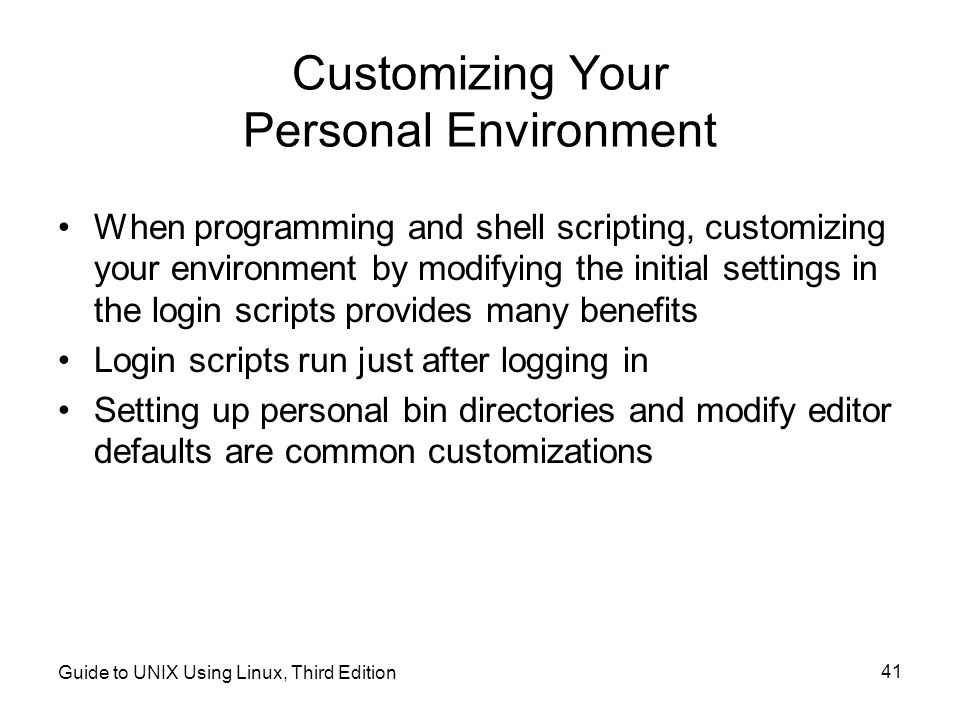 Customizing Your Personal Environment