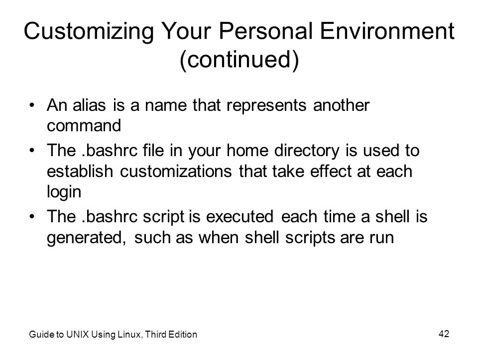 Customizing Your Personal Environment (continued)