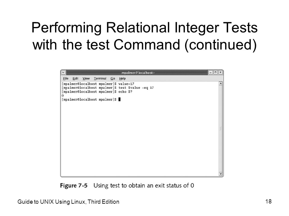 Performing Relational Integer Tests with the test Command (continued)