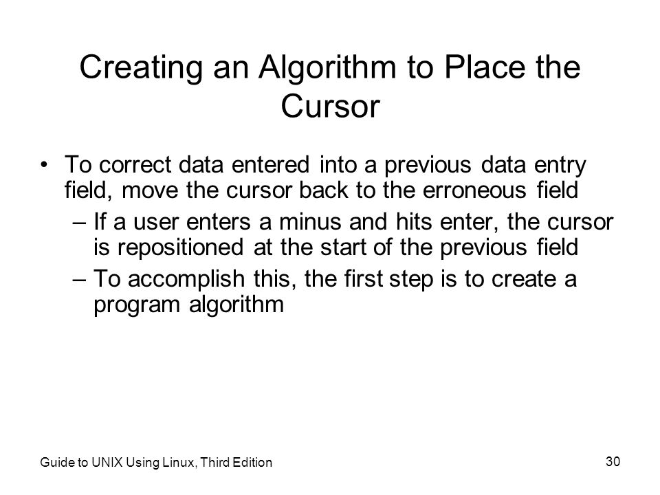 Creating an Algorithm to Place the Cursor