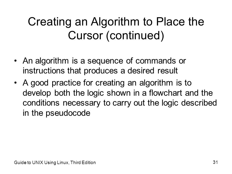 Creating an Algorithm to Place the Cursor (continued)
