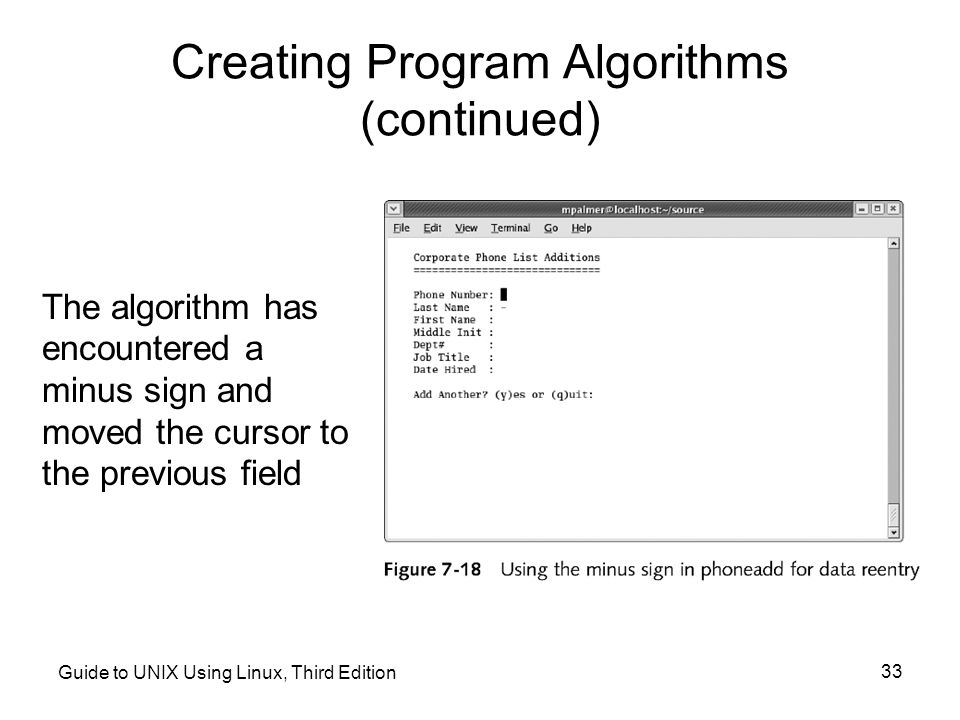 Creating Program Algorithms (continued)
