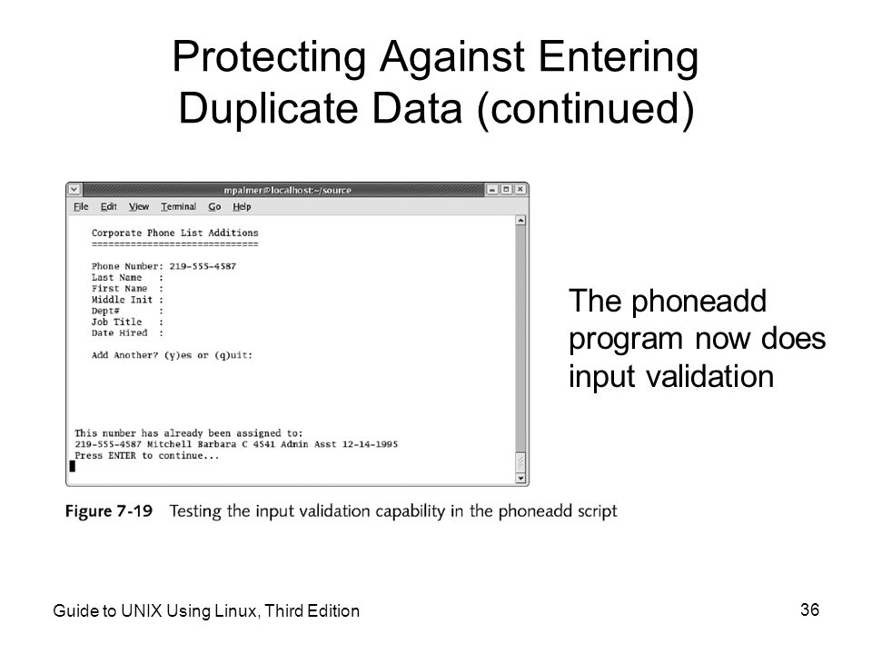 Protecting Against Entering Duplicate Data (continued)
