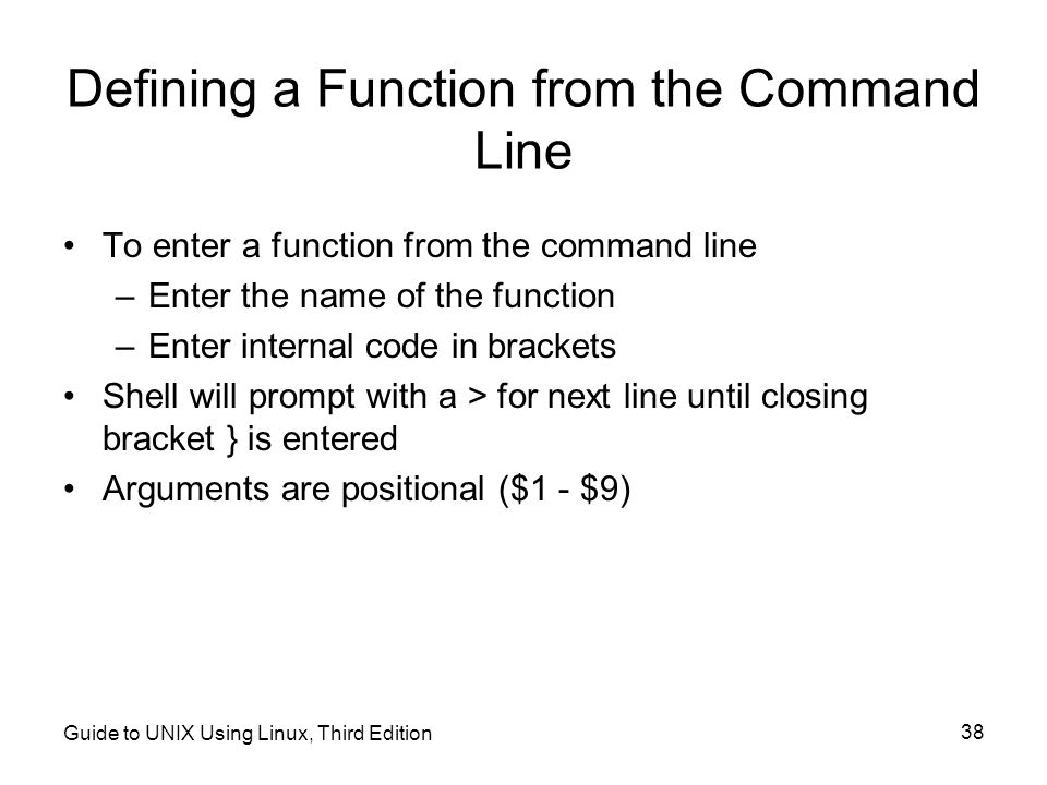 Defining a Function from the Command Line