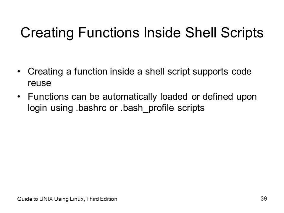 Creating Functions Inside Shell Scripts