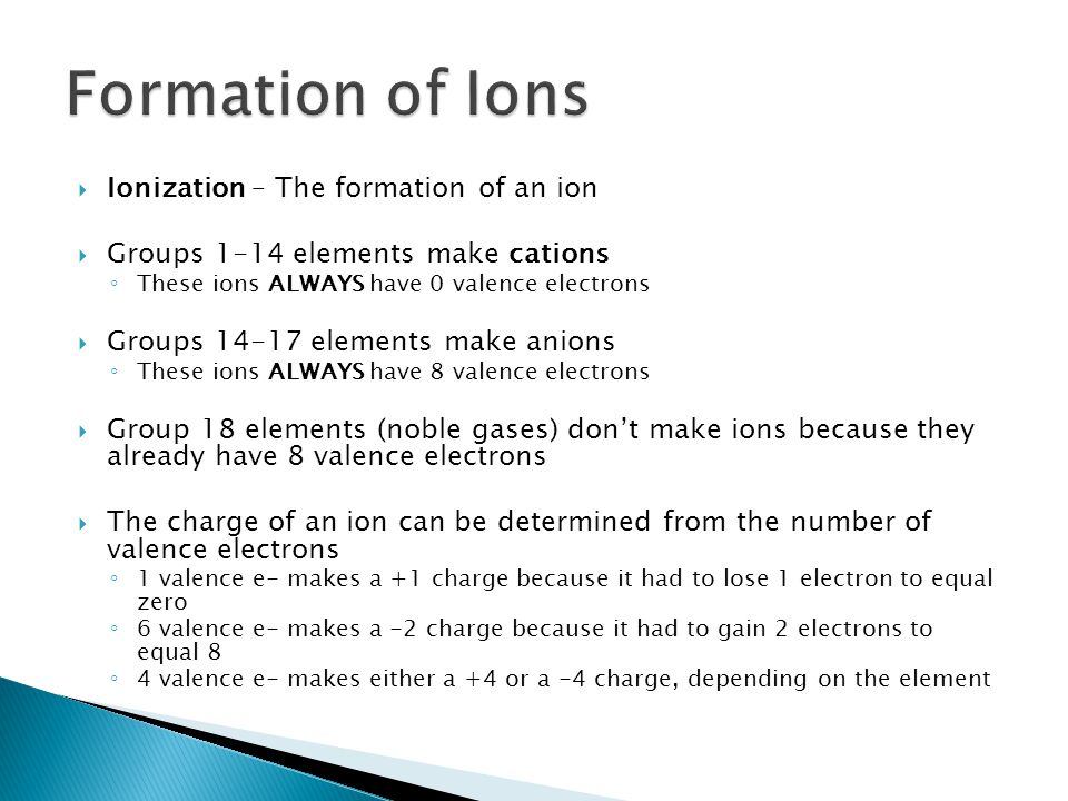 Formation of Ions Ionization – The formation of an ion
