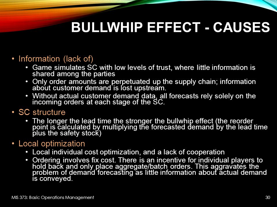 operations management the bullwhip effect Bullwhip effect and the beer distribution game teaches us about the  home »  posts » operations management » the bullwhip effect and the.