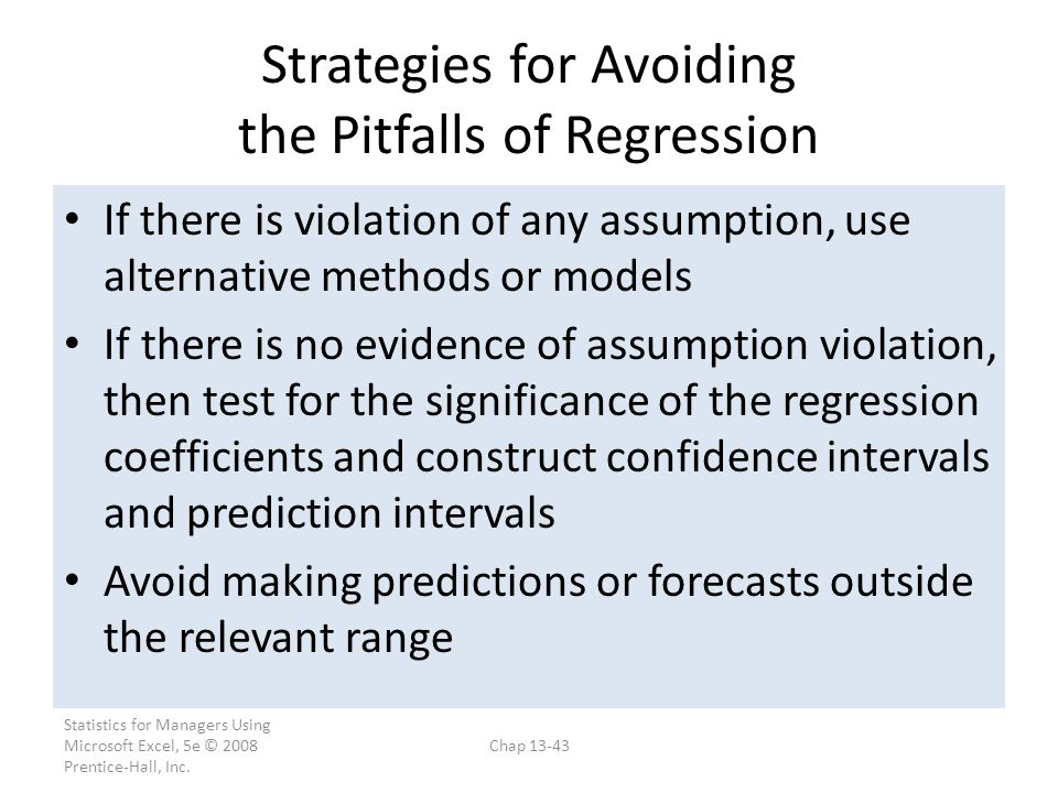 Strategies for Avoiding the Pitfalls of Regression