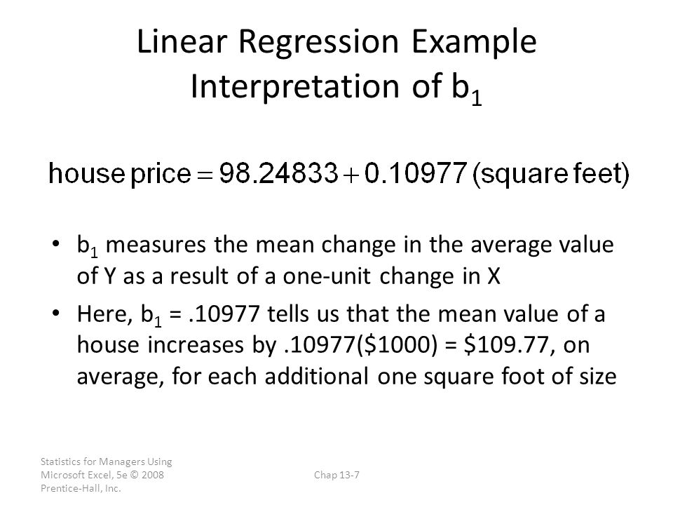 Linear Regression Example Interpretation of b1