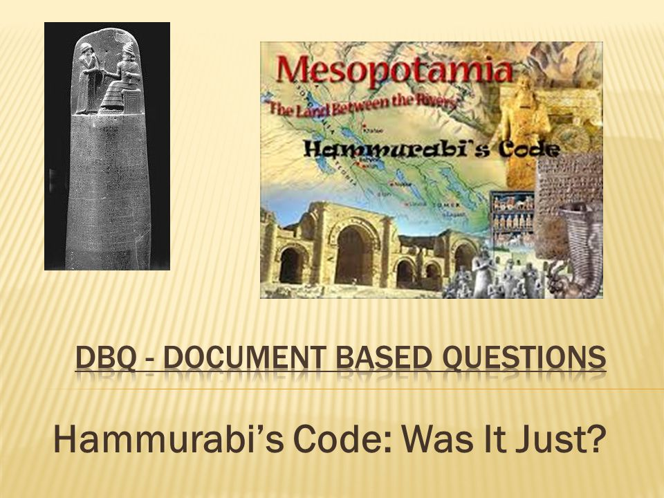 "hammurabi s code was it just Hammurabi's code was not just for the accused, according to law 195, (doc c) ""if a son shall strike his father, his hands shall be cut off"" what if that son had struck his father in an act of self-defense."