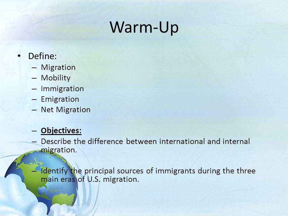 Warm Up Define: Migration Mobility Immigration Emigration