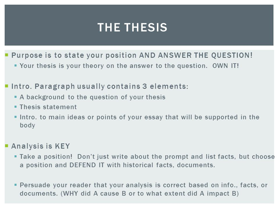 Thesis statement question and answer
