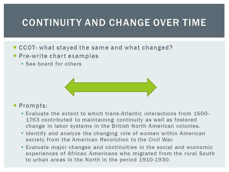 change over time essay atlantic world Socio-economic changes in the atlantic world from of the continuities of this time period in the atlantic for my ap world essay but now after i read.