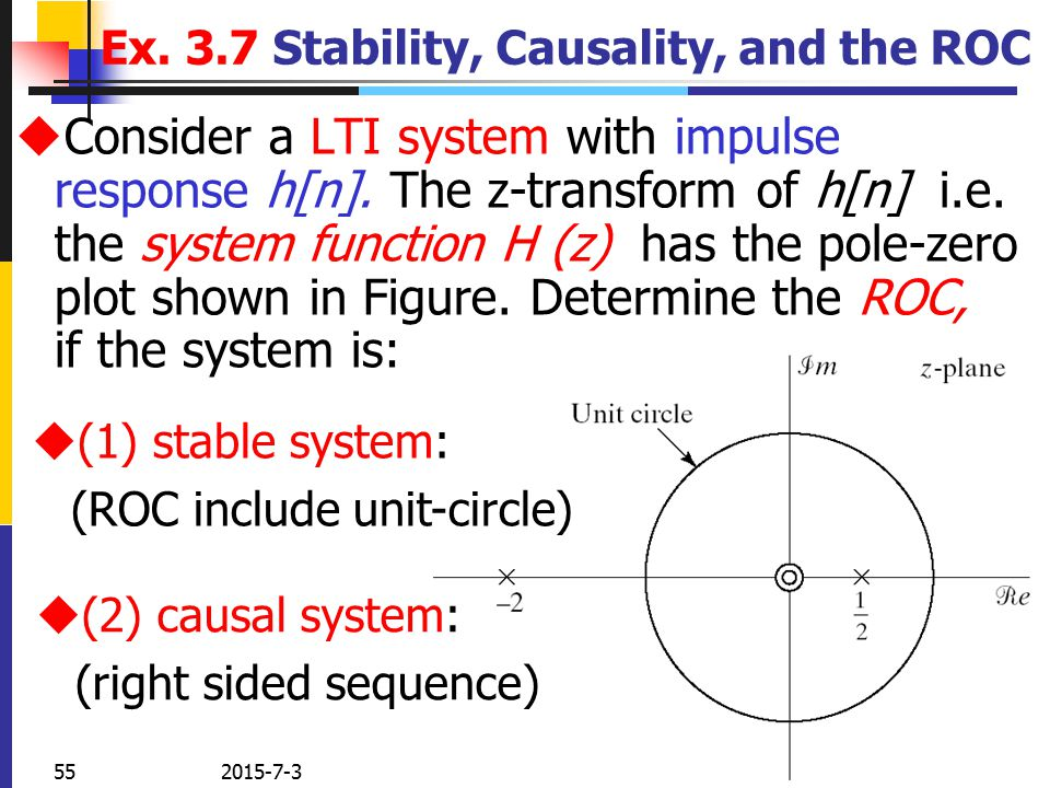 Discrete time signal processing chapter 3 the z transform ppt ex 37 stability causality and the roc ccuart Gallery