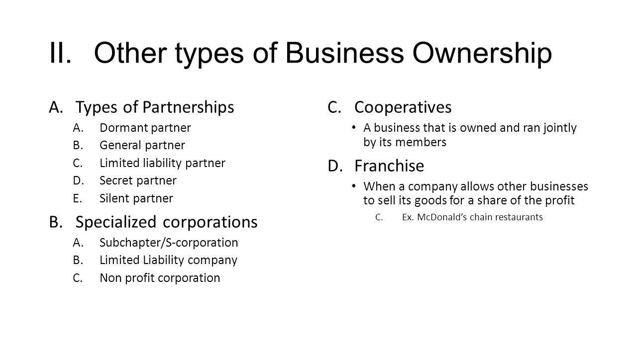 report on different types of ownership Types of ownership two (or more) people buy a home together and they decide the percentage for ownership if an owner dies, ownership is transferred to the person(s.