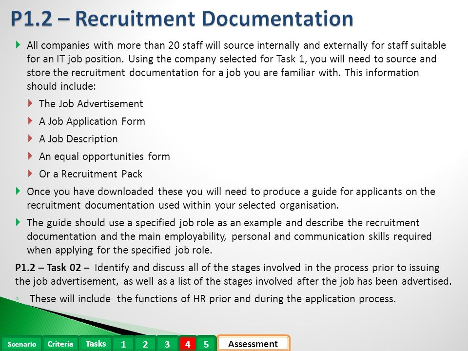 Recruitment documentation and person specification