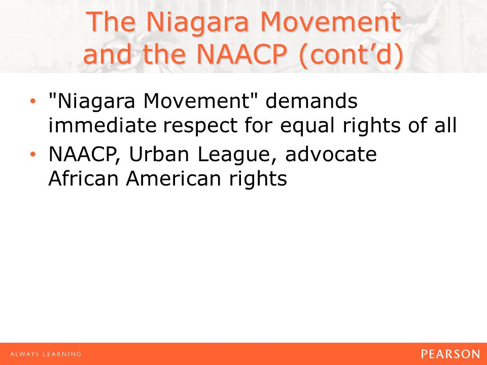 the niagara movement The niagara movement emerged out of years of struggle against racial oppression in the united states and frustration with the slow pace of change on the one hand and.