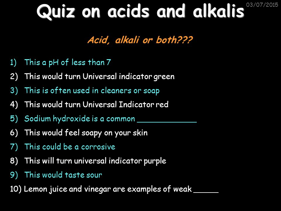 Acids And Alkalis Homework Help