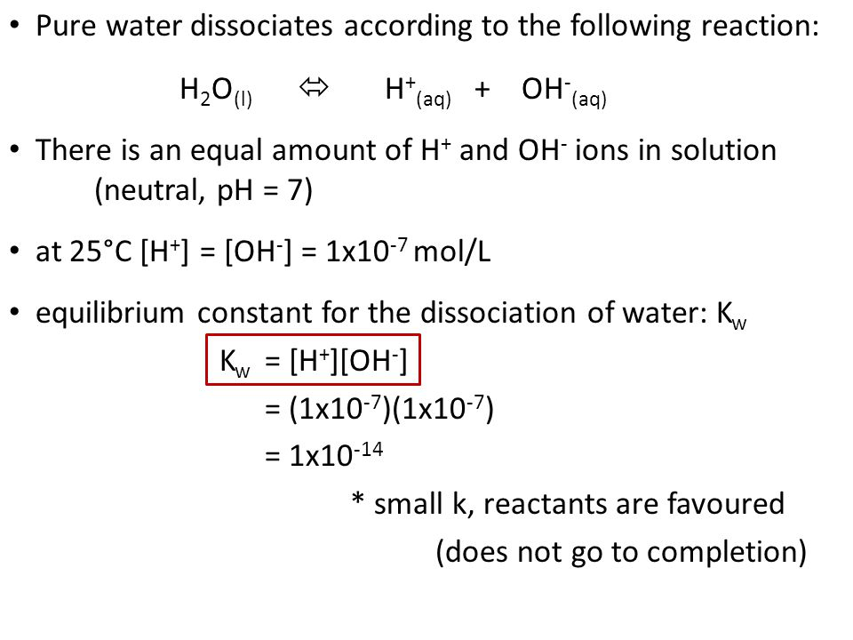 The Ion Product Constant for Water (Kw) - ppt video online download