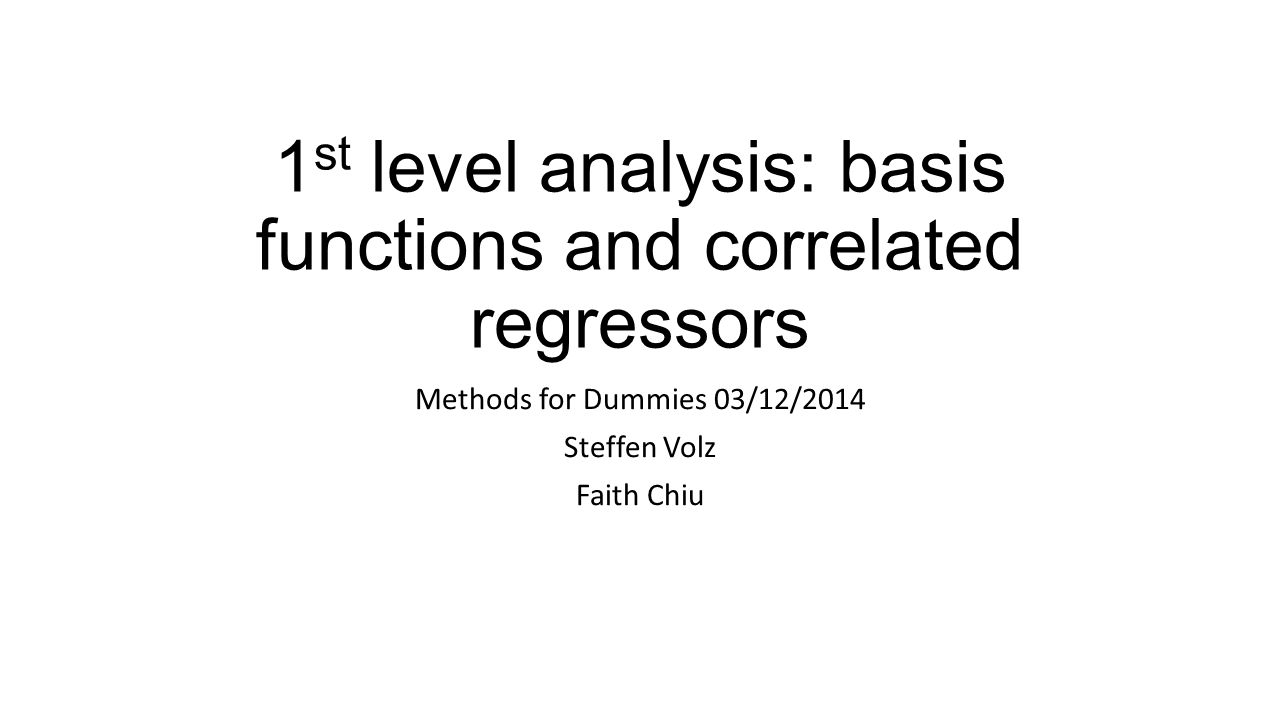 1st level analysis: basis functions and correlated regressors