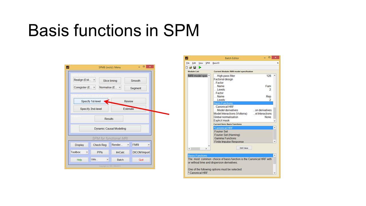 Basis functions in SPM