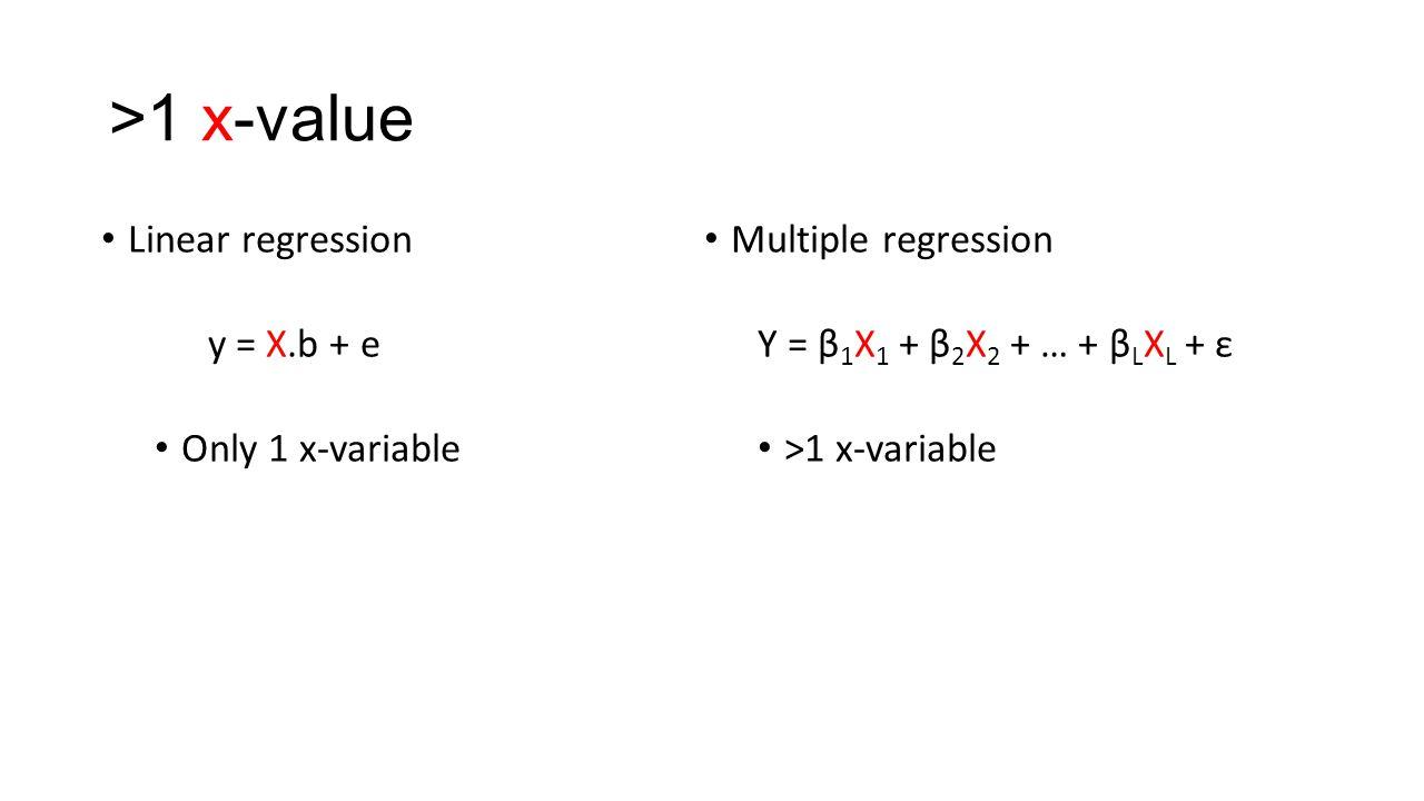 >1 x-value Linear regression Multiple regression y = X.b + e