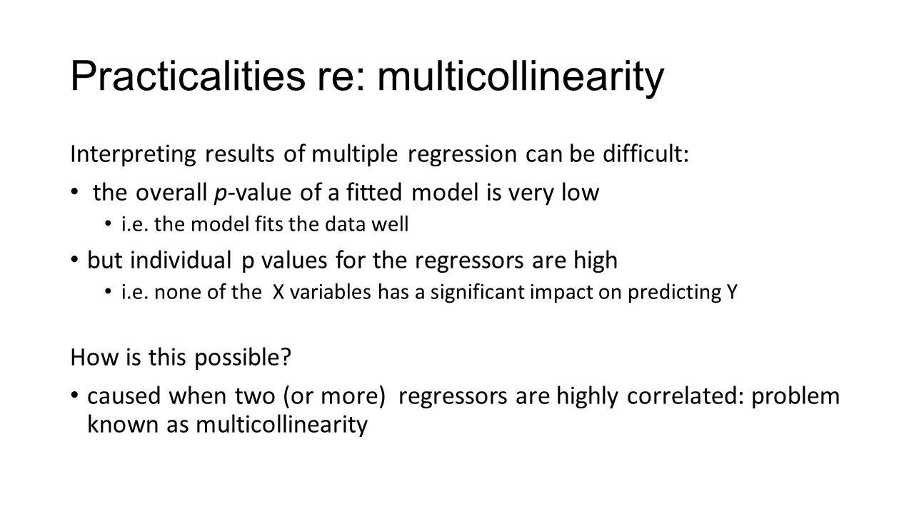 Practicalities re: multicollinearity