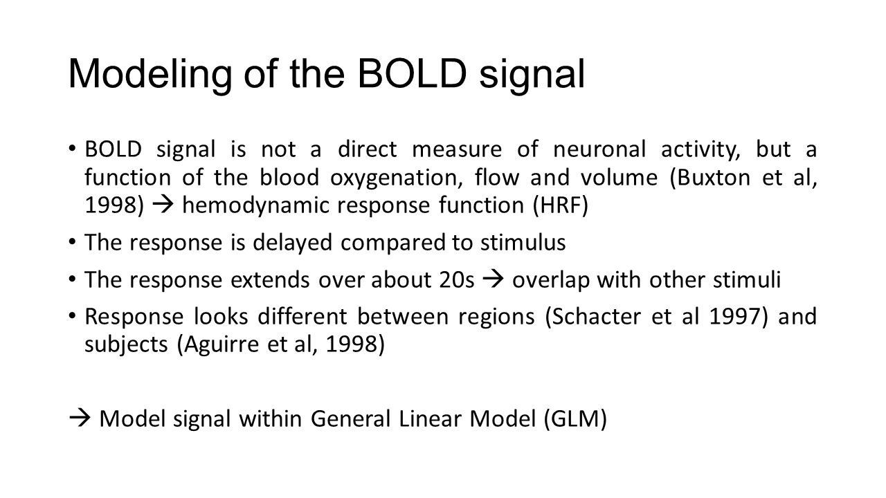 Modeling of the BOLD signal