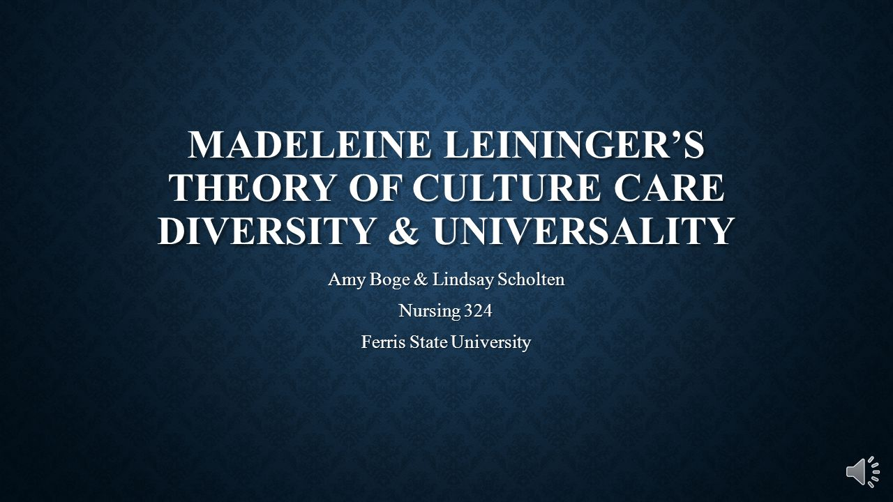 Leininger's Theory of Nursing: Cultural Care Diversity and Universality