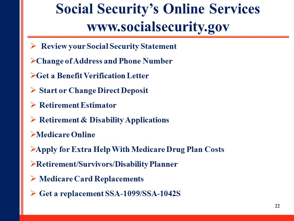 Social security ppt download social securitys online services ccuart Choice Image