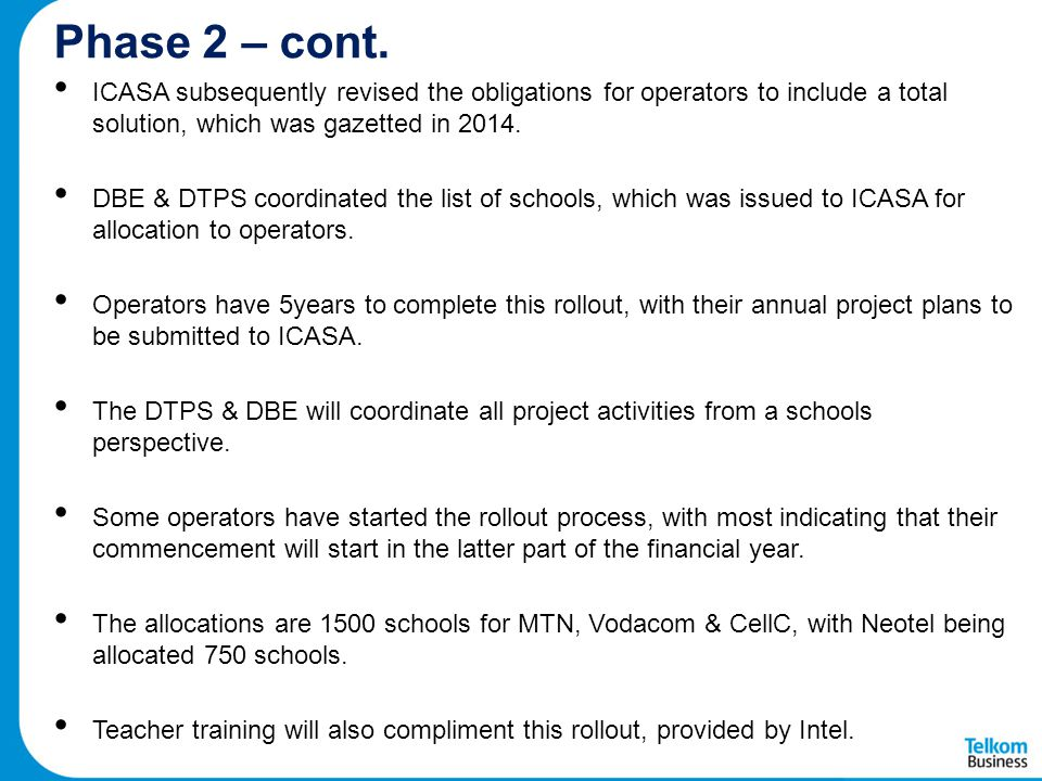 Phase 2 – cont. ICASA subsequently revised the obligations for operators to include a total solution, which was gazetted in