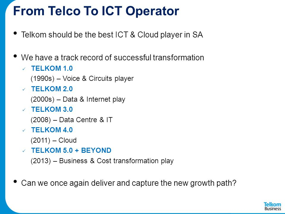 From Telco To ICT Operator