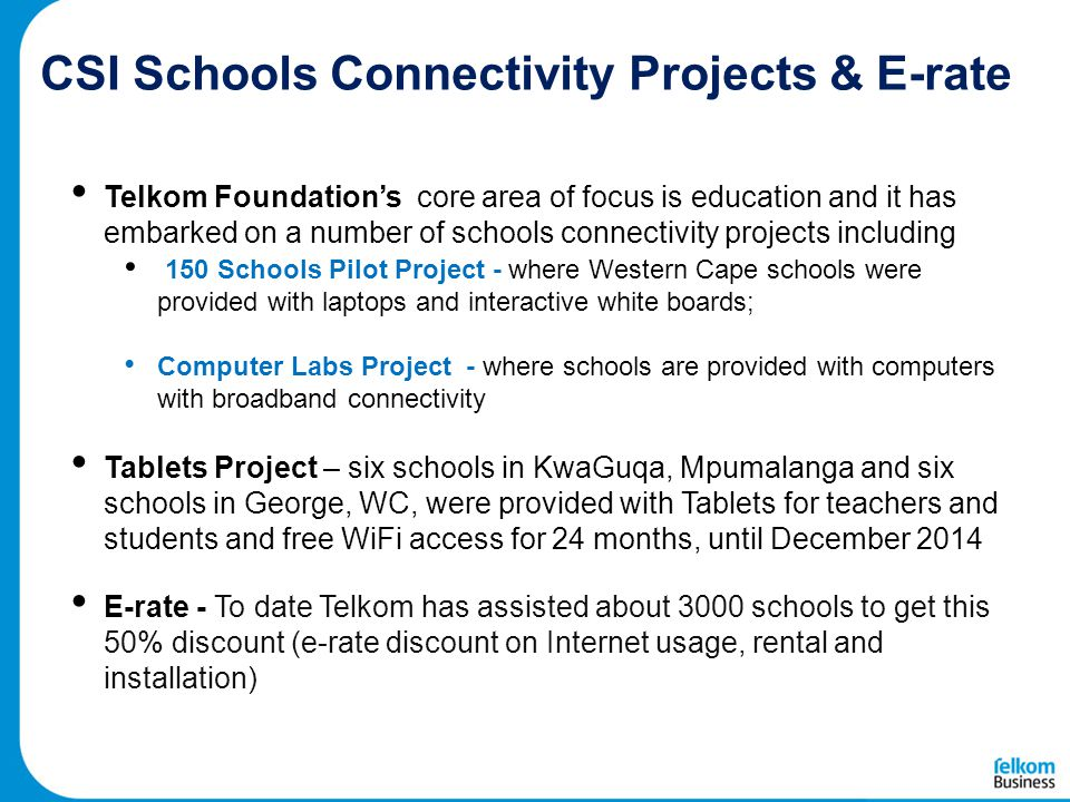 CSI Schools Connectivity Projects & E-rate