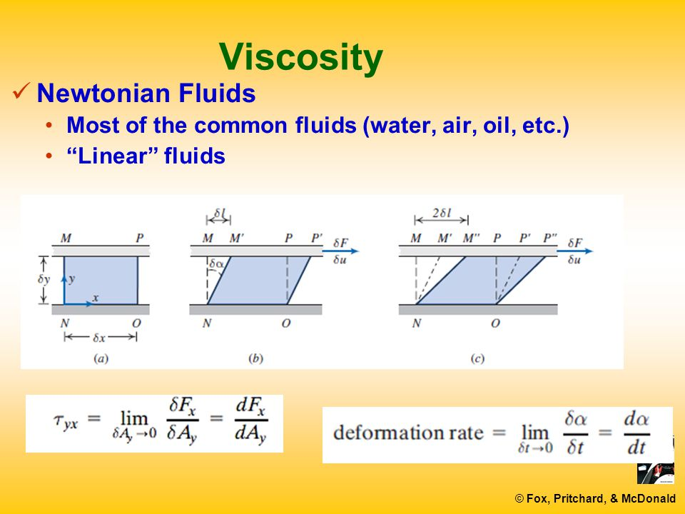 viscosity and newtonian liquid What makes non-newtonian fluids unique is viscosity viscosity is the rate at  which fluid flows common fluids, like water, have a consistent.