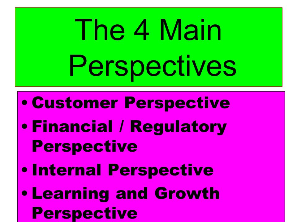 The 4 Main Perspectives Customer Perspective