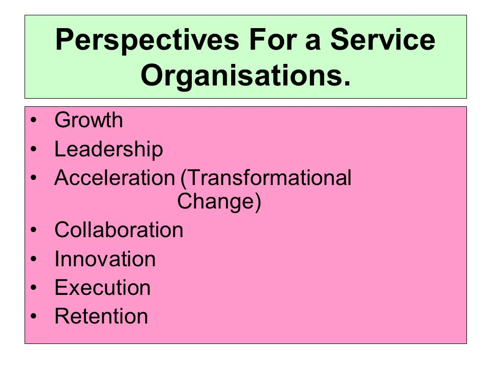 Perspectives For a Service Organisations.