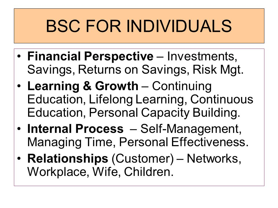 BSC FOR INDIVIDUALS Financial Perspective – Investments, Savings, Returns on Savings, Risk Mgt.