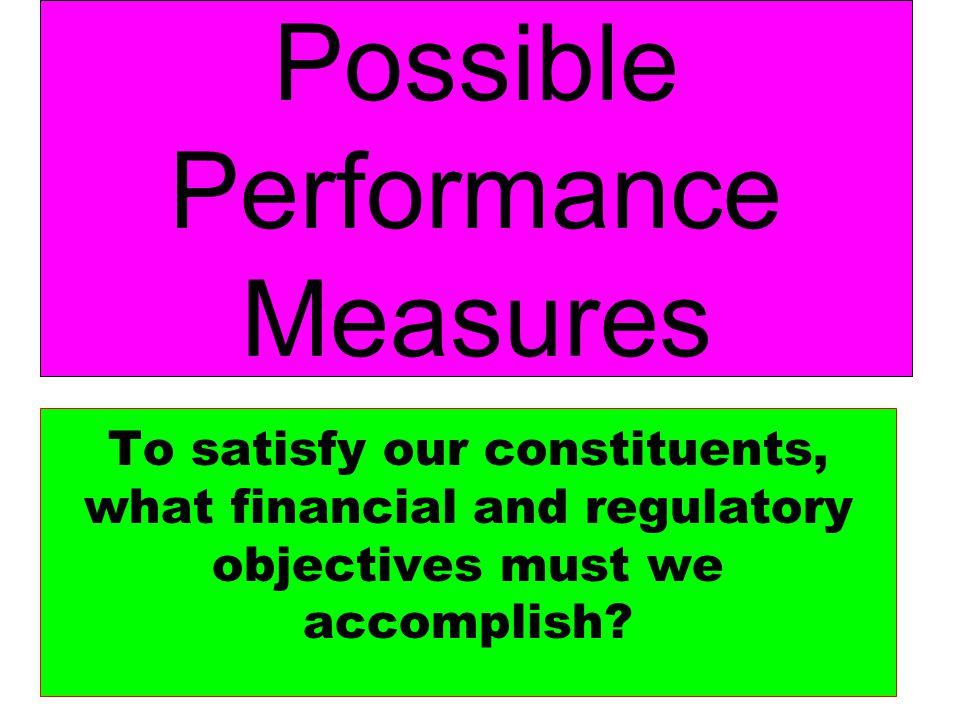 Possible Performance Measures