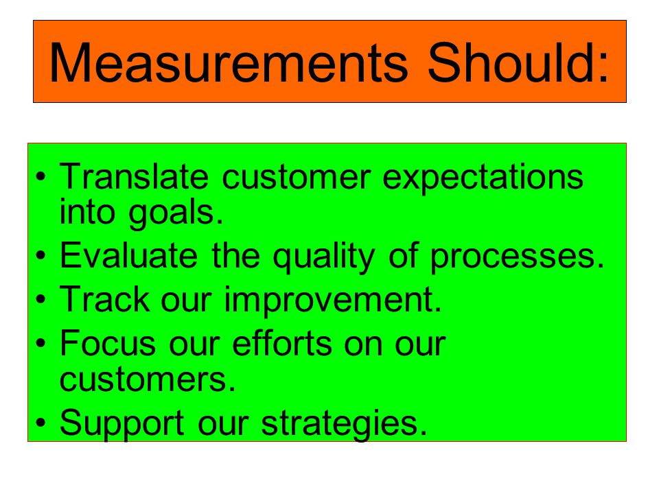 Measurements Should: Translate customer expectations into goals.
