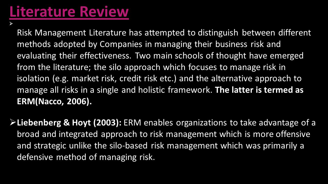 literature review on insurance management Abstract insurance system automates the management of insurance activities, which involves defining policies, schemes, policy specifications, policy terms and conditions, policies.