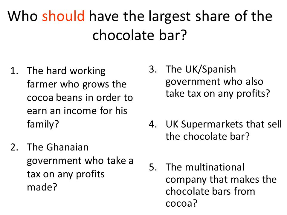 Who should have the largest share of the chocolate bar