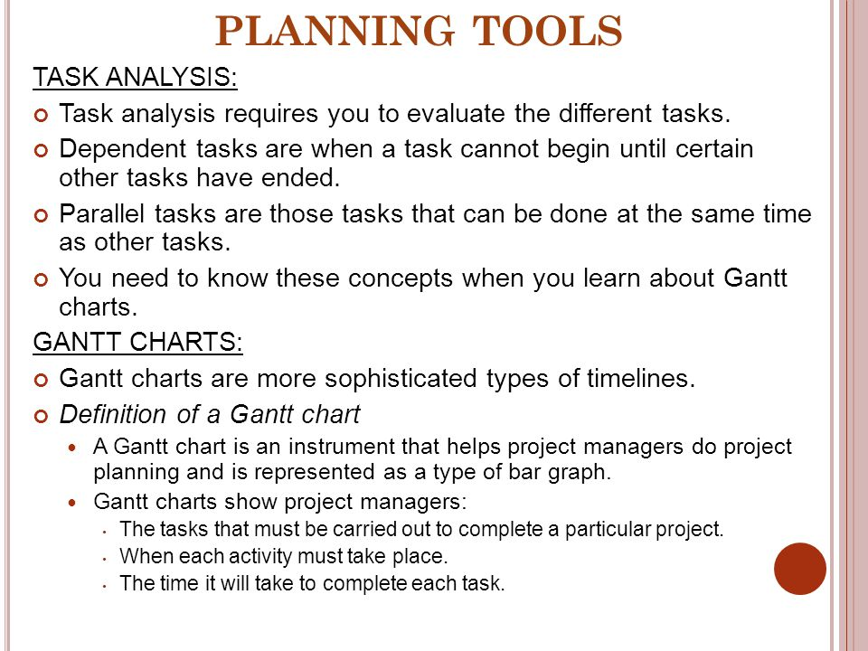 PLANNING TOOLS TASK ANALYSIS: