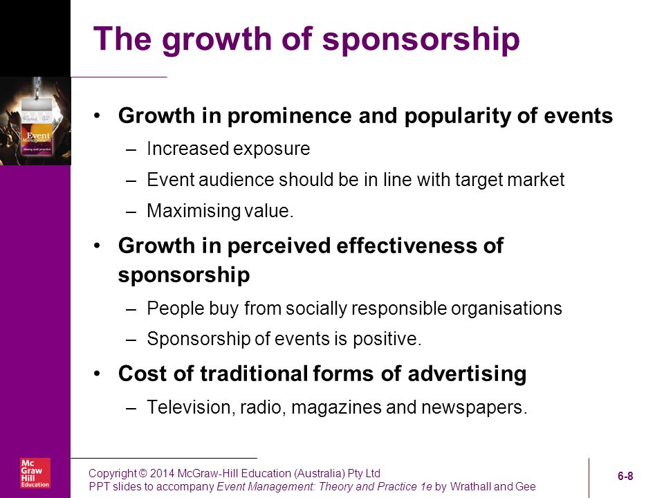 sponsorship and the organisation of mega events Items 1 - 11  of alcohol-sponsorship in the culture of large sporting events in new zealand   alcohol promotion & consumption at major sports events in new zealand  as  an organisation, new zealand cricket itself is aware of the potential.