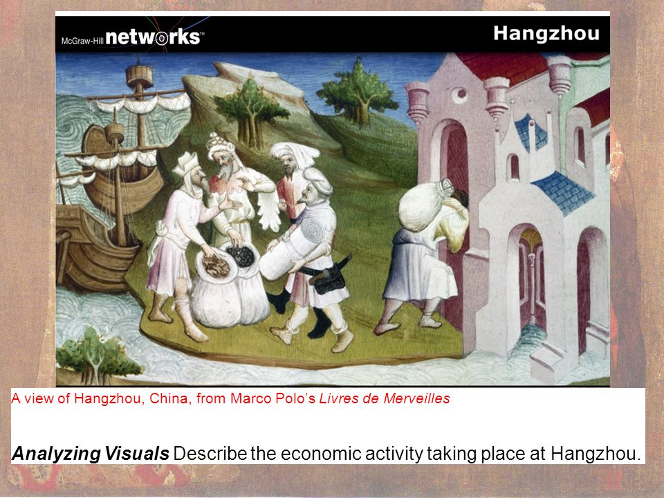 A view of Hangzhou, China, from Marco Polo's Livres de Merveilles