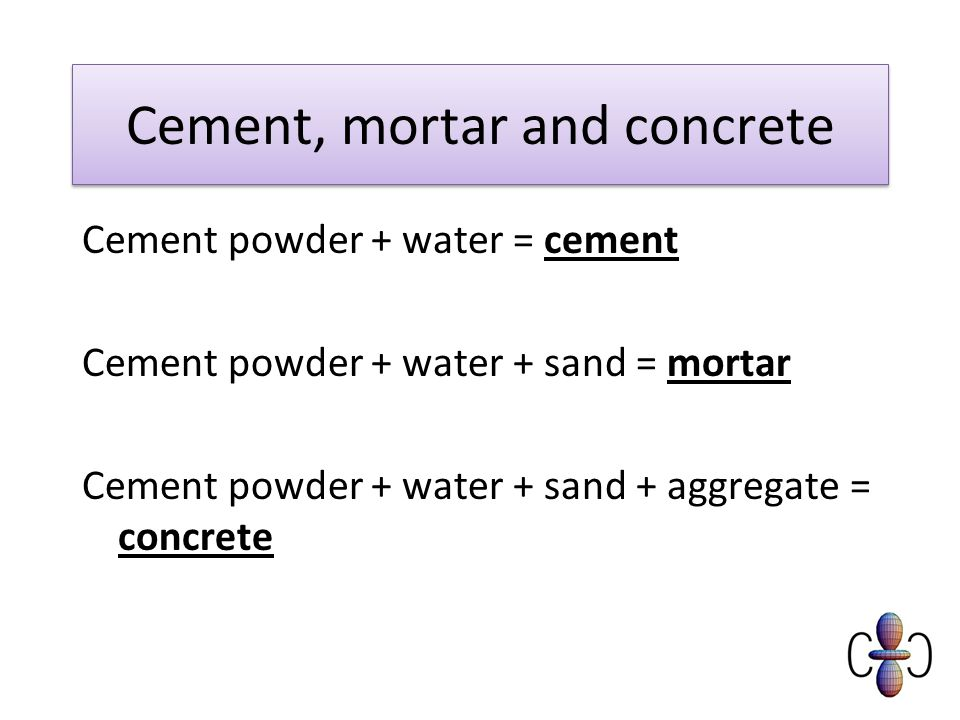 Cement, mortar and concrete