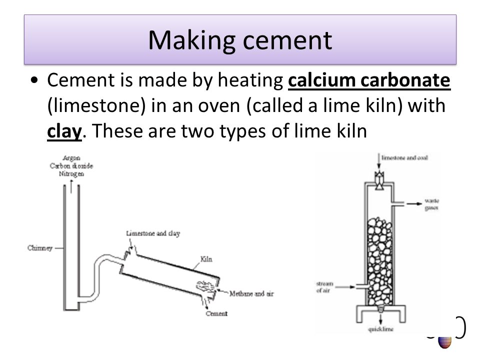 Making cement Cement is made by heating calcium carbonate (limestone) in an oven (called a lime kiln) with clay.