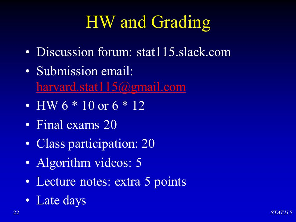 HW and Grading Discussion forum: stat115.slack.com